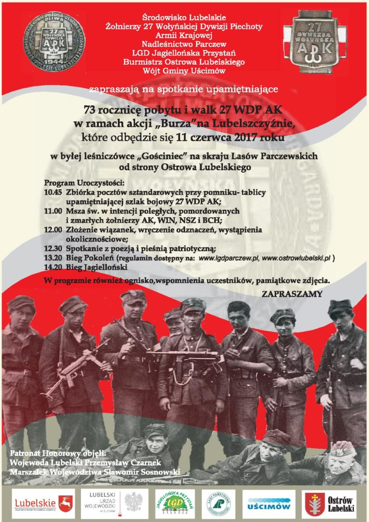 """Zapraszamy na spotkanie upamiętniające 73 rocznice pobytu i walk 27 WDP AK w ramach akcji """"Burza"""""""