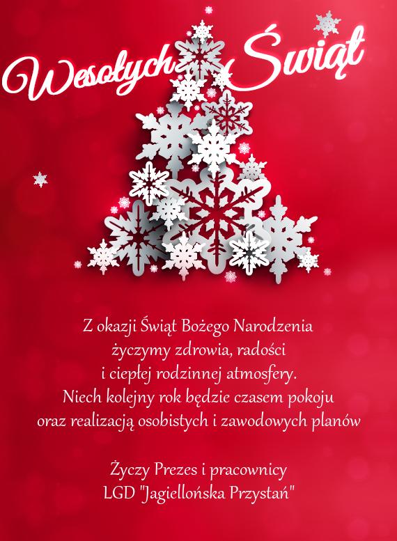 """Życzenia Świąteczne LGD """"Jagiellońska Przystań"""""""
